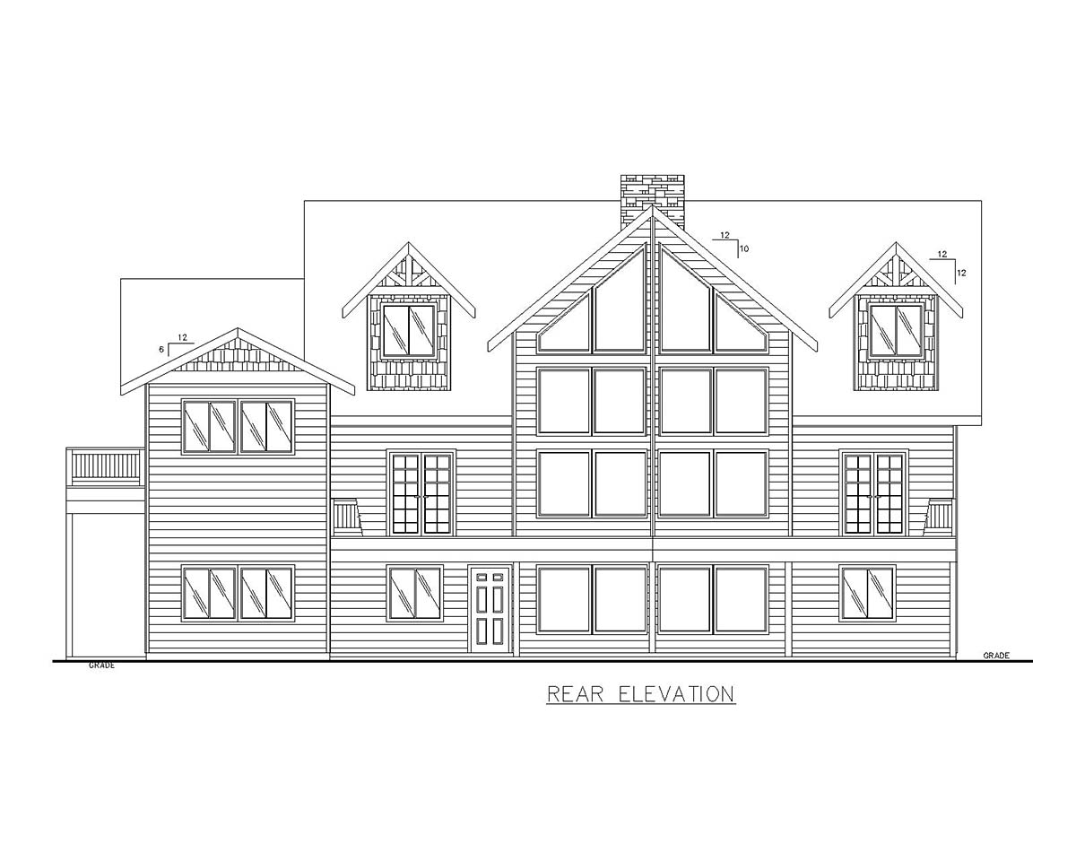 Cabin, Log House Plan 85110 with 4 Beds, 5 Baths, 3 Car Garage Rear Elevation