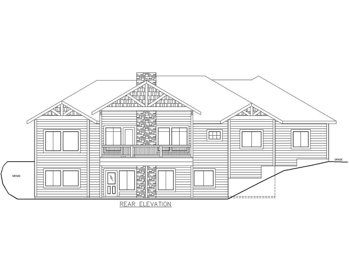 Craftsman House Plan 85115 with 5 Beds, 4 Baths, 1 Car Garage Rear Elevation