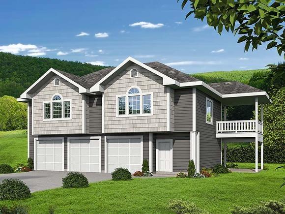 Traditional Garage-Living Plan 85130 with 2 Beds, 2 Baths, 3 Car Garage Elevation