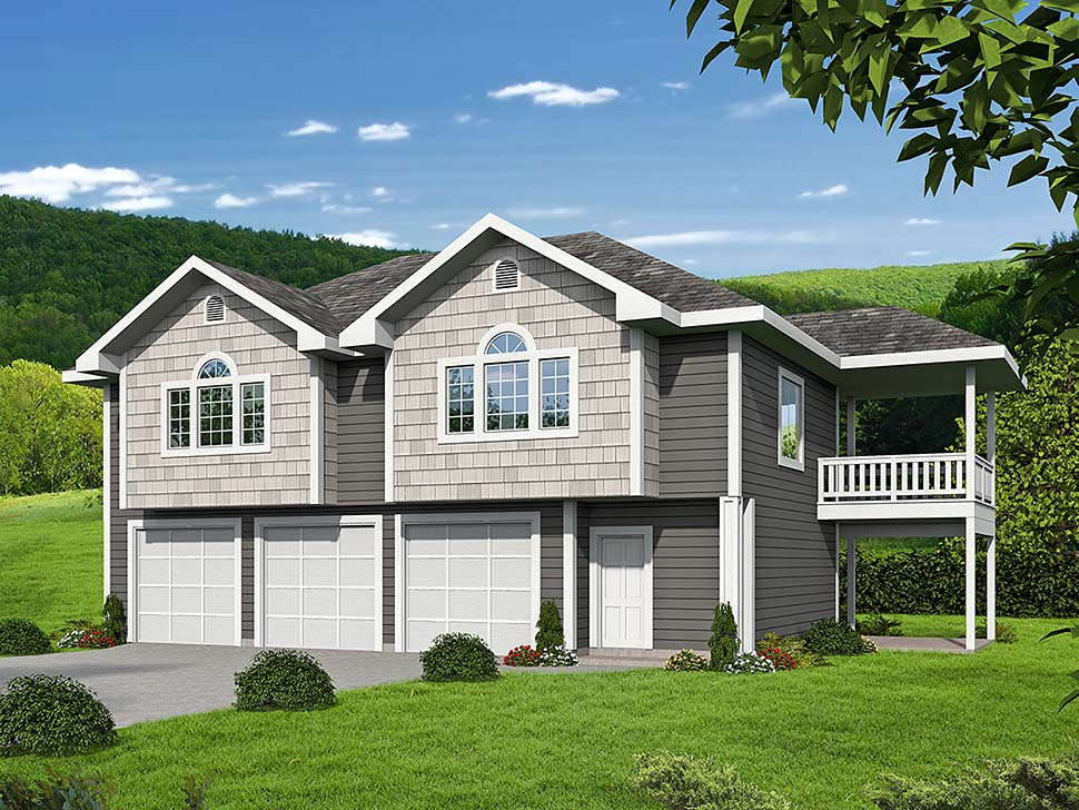 Traditional Garage-Living Plan 85130 with 2 Beds, 2 Baths, 3 Car Garage Elevation