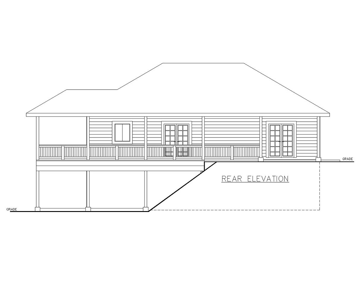 Traditional Garage-Living Plan 85130 with 2 Beds, 2 Baths, 3 Car Garage Rear Elevation