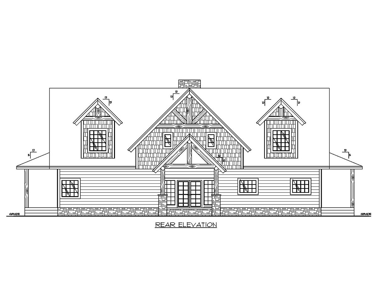 Cape Cod, Country House Plan 85135 with 3 Beds, 3 Baths Rear Elevation