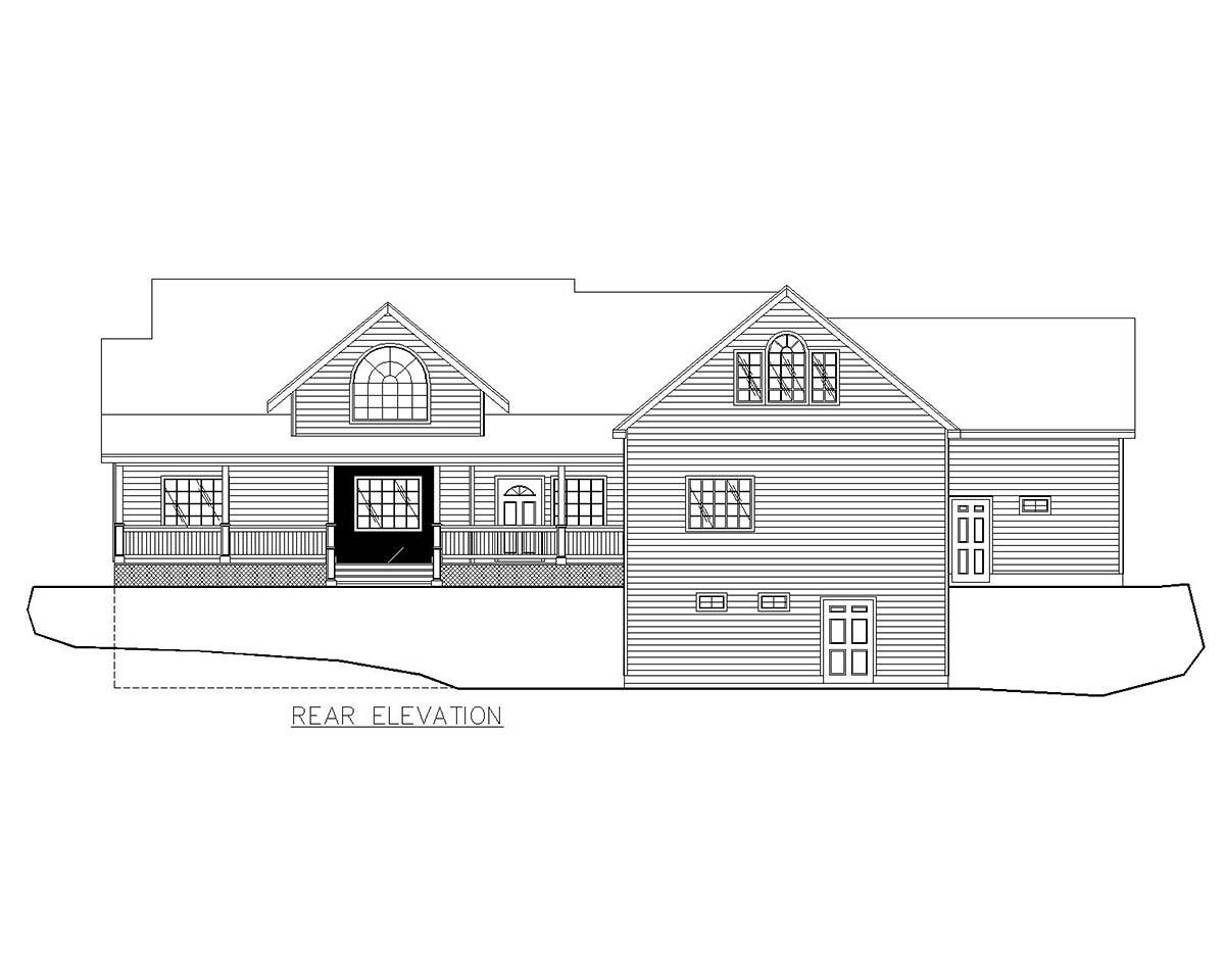Craftsman, Traditional House Plan 85209 with 4 Beds, 4 Baths, 3 Car Garage Rear Elevation