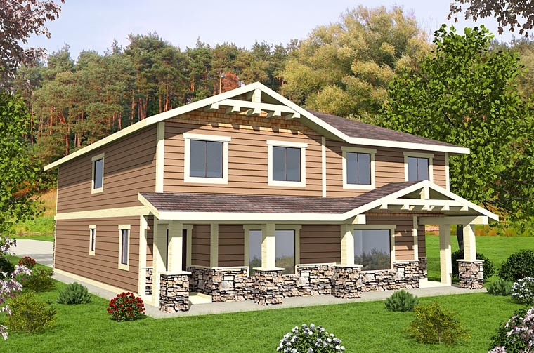 Bungalow Cottage Country Craftsman Multi-Family Plan 85214 Elevation