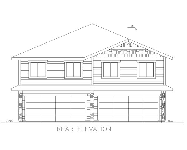 Bungalow Cottage Country Craftsman Multi-Family Plan 85214 Rear Elevation