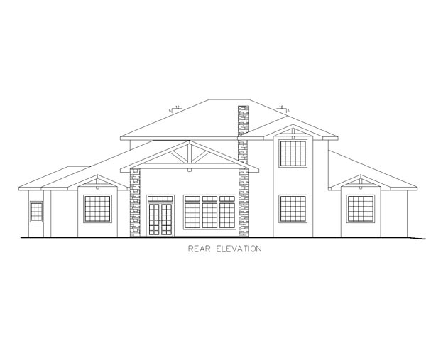 European Traditional House Plan 85220 Rear Elevation