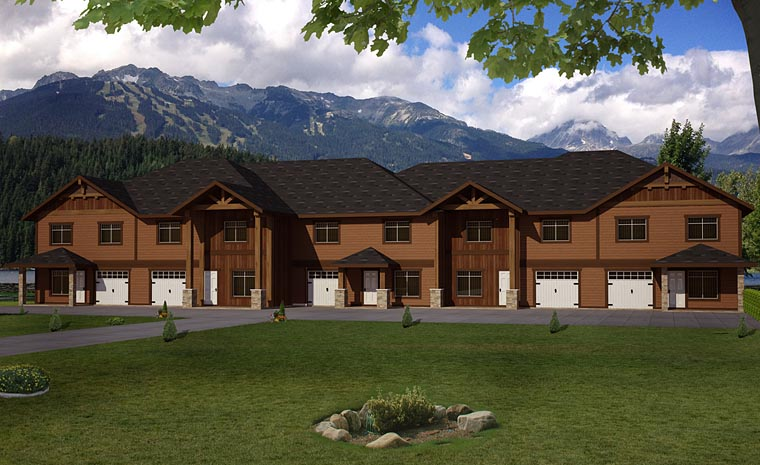 Country Craftsman Tudor Multi-Family Plan 85233 Elevation