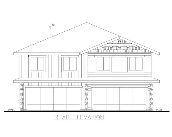 Craftsman Traditional Tudor Multi-Family Plan 85234 Rear Elevation
