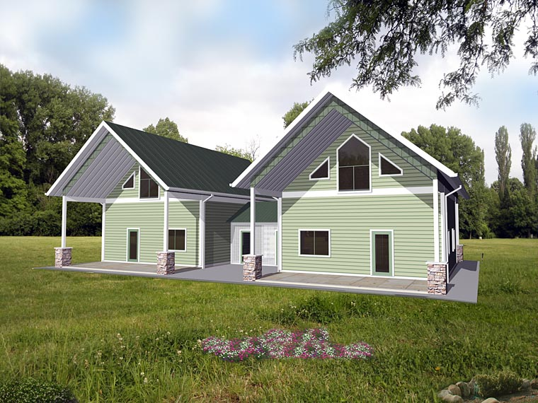Cabin Contemporary Country Multi-Family Plan 85236 Elevation