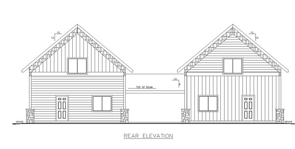 Cabin Contemporary Country Multi-Family Plan 85236 Rear Elevation