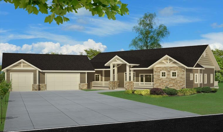 Country, Craftsman, Traditional House Plan 85246 with 5 Beds, 4 Baths, 3 Car Garage Elevation