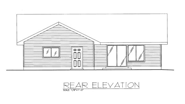 Ranch, Traditional House Plan 85274 with 3 Beds, 2 Baths, 2 Car Garage Rear Elevation