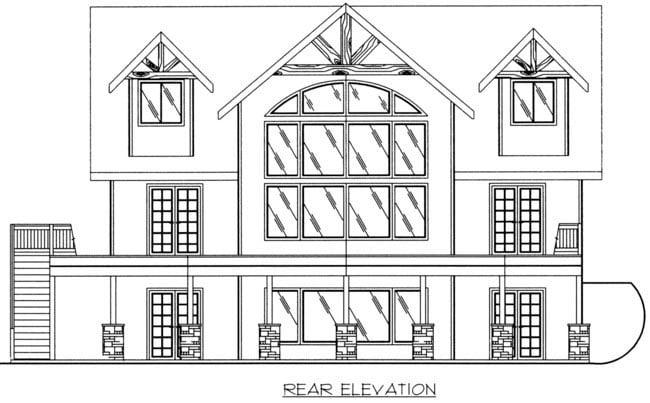 Coastal House Plan 85316 Rear Elevation