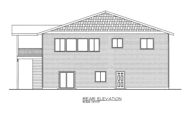 Rear Elevation of Plan 85330