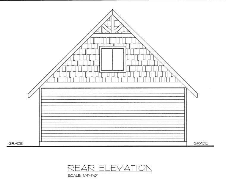 Rear Elevation of Plan 85375