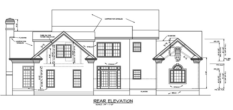Colonial Country Farmhouse House Plan 85454 Rear Elevation