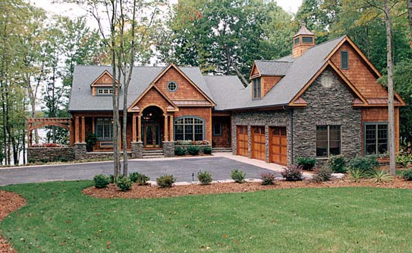 House plan 85480 at for Ranch style home plans with 3 car garage