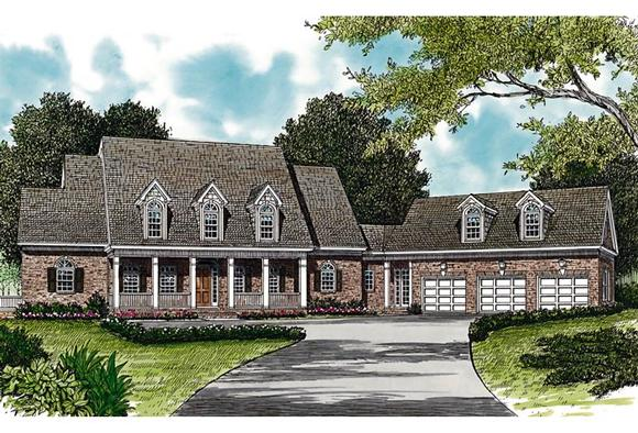 Colonial, Cottage, Country, Farmhouse, Traditional House Plan 85533 with 6 Beds, 7 Baths, 6 Car Garage Elevation