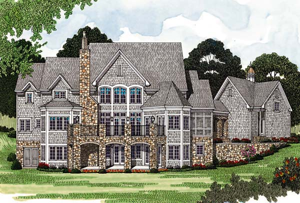 Rear Elevation of Cottage   Country   European   House Plan 85544