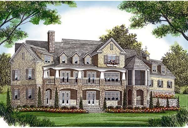 Cottage, Craftsman House Plan 85573 with 5 Beds, 6 Baths, 3 Car Garage Rear Elevation