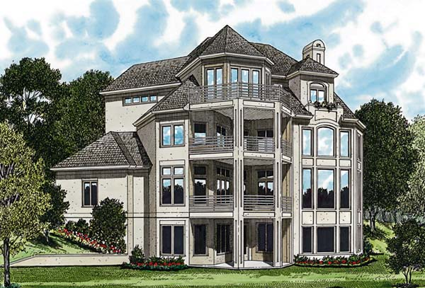 Traditional House Plan 85653 with 5 Beds, 6 Baths, 2 Car Garage Rear Elevation
