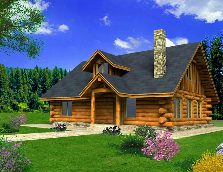 House plan 85871 at for Pole barn cabin ideas