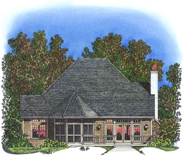 Traditional Rear Elevation of Plan 86042