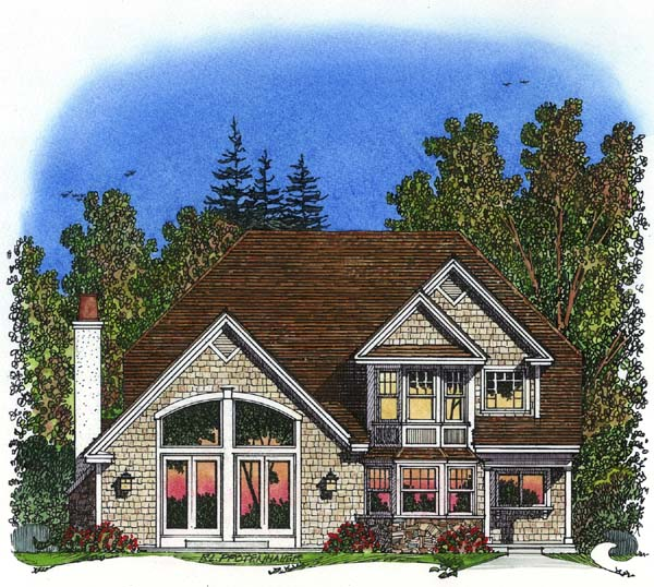 Traditional House Plan 86043 with 3 Beds, 3 Baths, 2 Car Garage Rear Elevation
