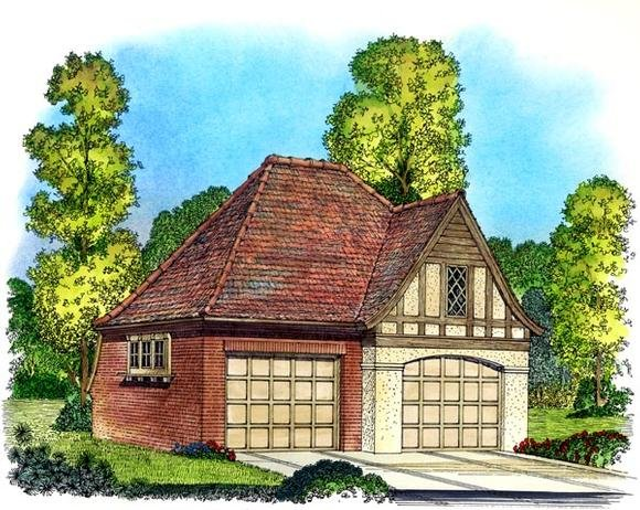 Cottage, European, Tudor, Victorian 2 Car Garage Plan 86051 Elevation