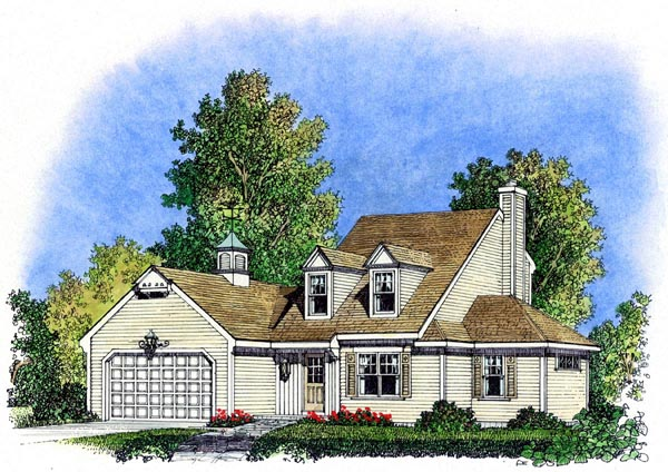 Cape Cod Colonial Cottage Farmhouse Traditional House Plan 86069 Elevation