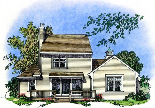Cape Cod Colonial Cottage Farmhouse Traditional House Plan 86069 Rear Elevation