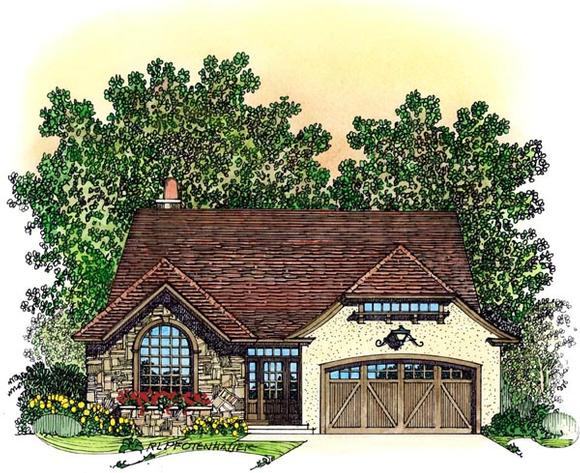 European, Mediterranean, Traditional, Tudor House Plan 86072 with 3 Beds, 3 Baths, 3 Car Garage Elevation