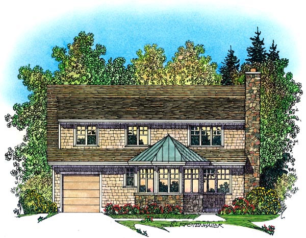Bungalow, Craftsman House Plan 86073 with 3 Beds, 3 Baths, 3 Car Garage Rear Elevation