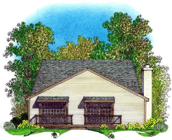 Country, European, Narrow Lot, Tudor House Plan 86074 with 4 Beds, 3 Baths, 2 Car Garage Rear Elevation