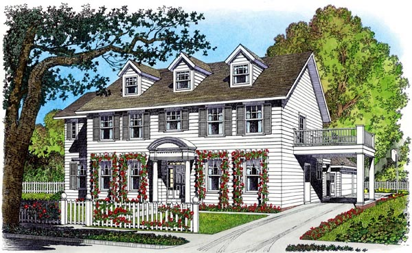 Colonial House Plan 86075 with 4 Beds, 3 Baths, 3 Car Garage Elevation