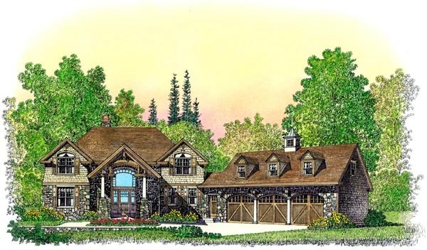 Bungalow, Craftsman House Plan 86076 with 4 Beds, 5 Baths, 3 Car Garage Elevation
