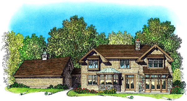Bungalow, Craftsman House Plan 86076 with 4 Beds, 5 Baths, 3 Car Garage Rear Elevation