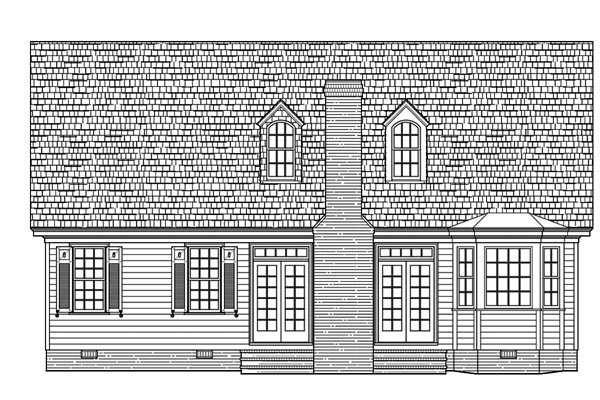 Rear Elevation of Cape Cod   Cottage   Country   French Country   House Plan 86109