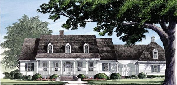 Colonial Country Farmhouse Southern House Plan 86110 Elevation