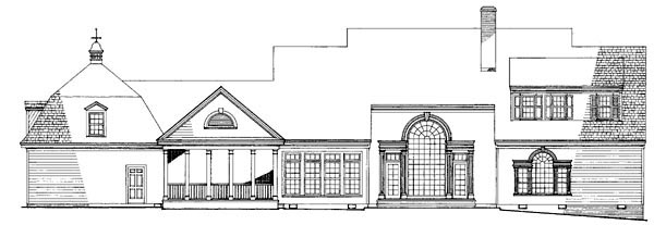 Colonial Country Farmhouse Southern House Plan 86110 Rear Elevation
