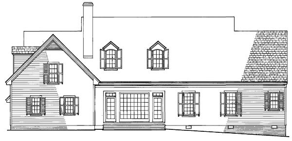 Country Southern Traditional House Plan 86116 Rear Elevation