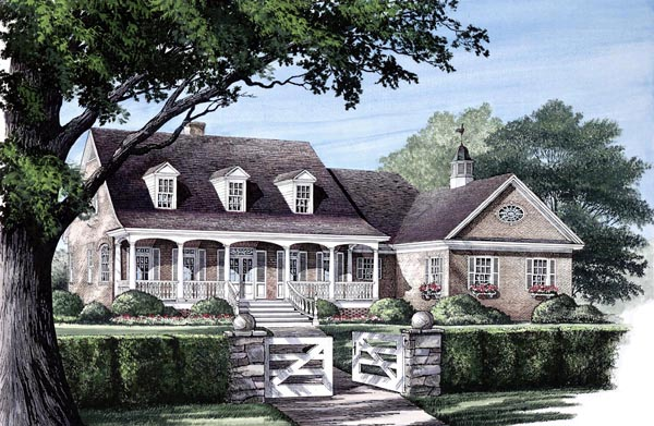 Cape Cod Country Farmhouse Southern House Plan 86118 Elevation