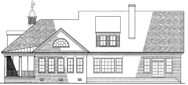 Cape Cod Country Farmhouse Southern House Plan 86118 Rear Elevation