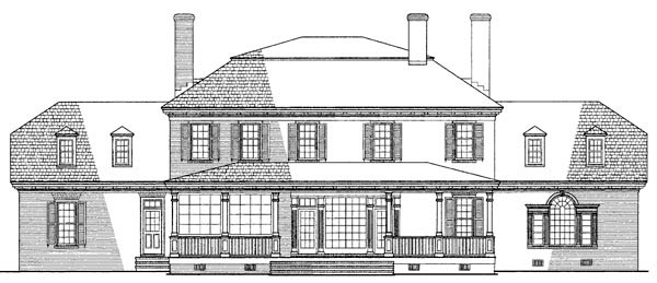 Colonial Plantation Southern House Plan 86126 Rear Elevation