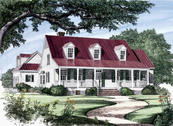 House Plan at FamilyHomePlans comColonial Cottage Country Farmhouse Southern Traditional House Plan Elevation