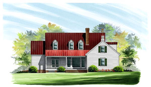 Colonial Cottage Country Farmhouse Southern Traditional House Plan 86133 Rear Elevation