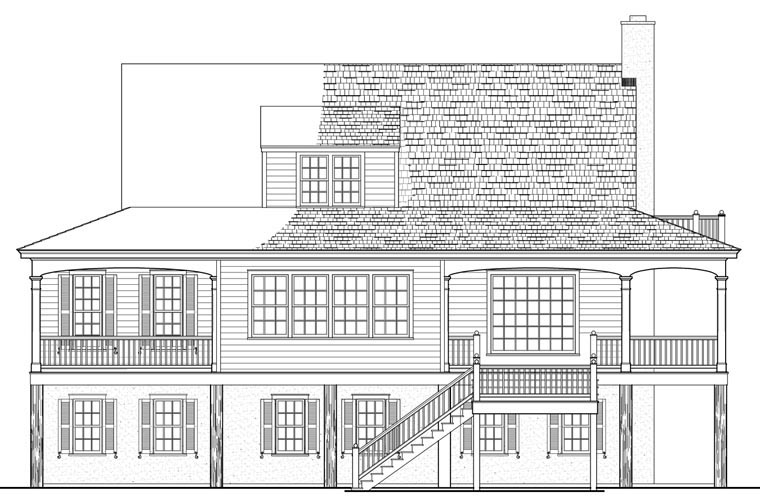 Country Farmhouse Southern Traditional House Plan 86134 Rear Elevation
