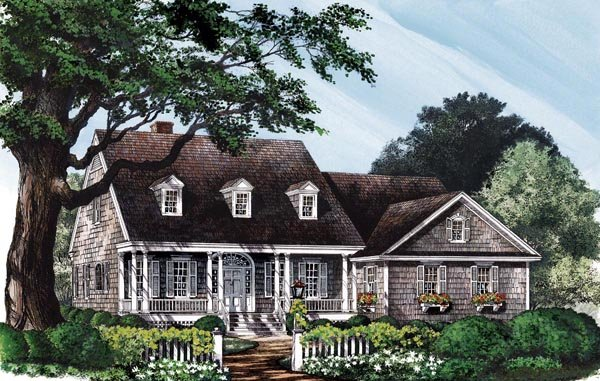 Colonial Cottage Country Southern House Plan 86141 Elevation