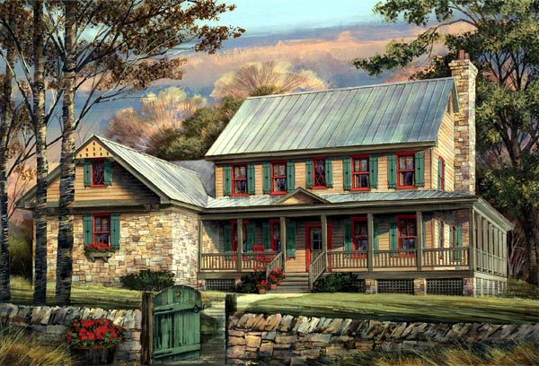 Country Farmhouse Southern House Plan 86144 Elevation