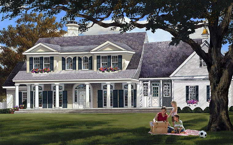 Colonial Country Plantation Southern House Plan 86148 Elevation